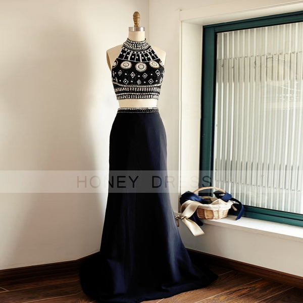 Image of Black Two Piece Halter Neck Beaded Prom Gown With Open Back