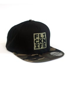 Image of 5 Panel Cotton Snapback - Black/Camo