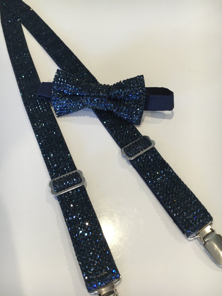 Image of Crystalized bow tie and suspenders set