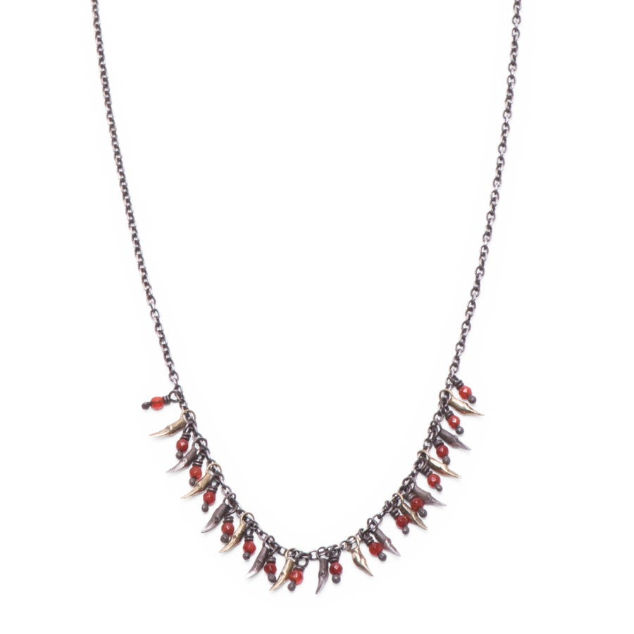 Image of 15 branch & bead drop necklace (P105SIL1620)
