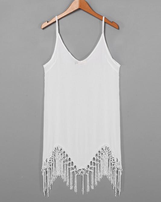 Image of Irregular fringed harness dress beach dress