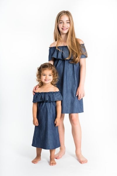Image of Girls Denim Ruffle Dress