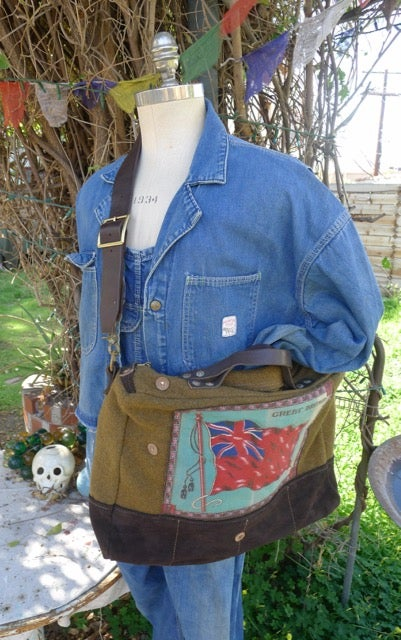 Image of VINTAGE MILITARY BLANKET AND SUEDE SHOULDER BAG