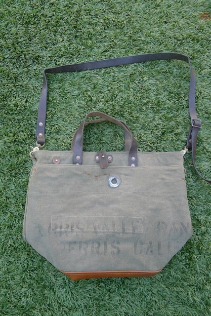 Image of VINTAGE MILITARY CANVAS AND LEATHER BUCKET TOTE BAG #1