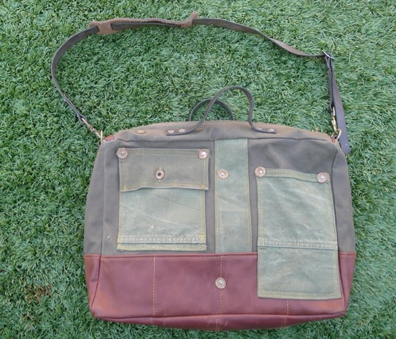 Image of MILITARY CANVAS SHOULDER BAG