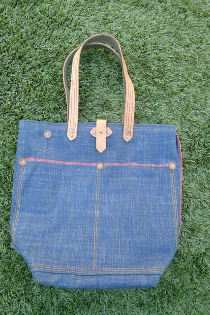 Image of RAINBOW WEFT SELVEDGE DENIM BUCKET TOTE