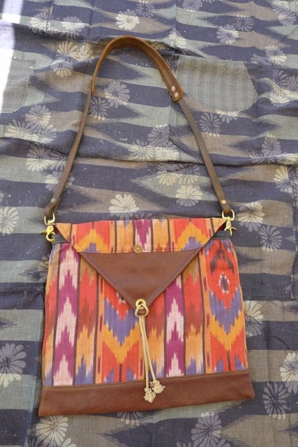 Image of IKAT AND LEATHER SHOULDER BAG