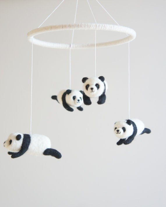 Giant Panda Nursery Mobile Crib Baby Needle Felted For Decor