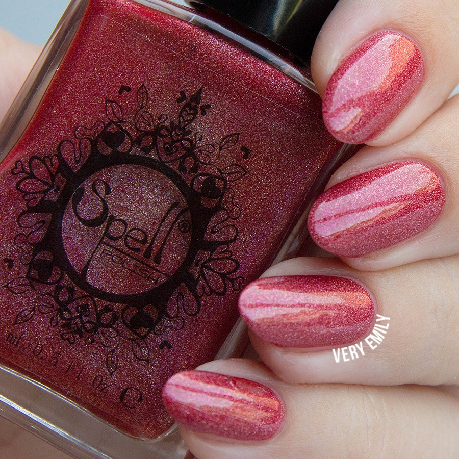 "Image of ~Widow's Walk~ red/pink holo Spell nail polish ""Dollhouse Mischief""!"