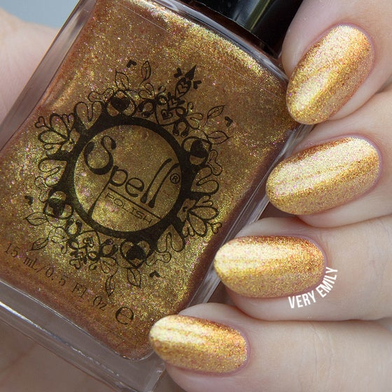 "Image of ~The Secret Staircase~ gold foil metallic chrome Spell nail polish ""Dollhouse Mischief""!"