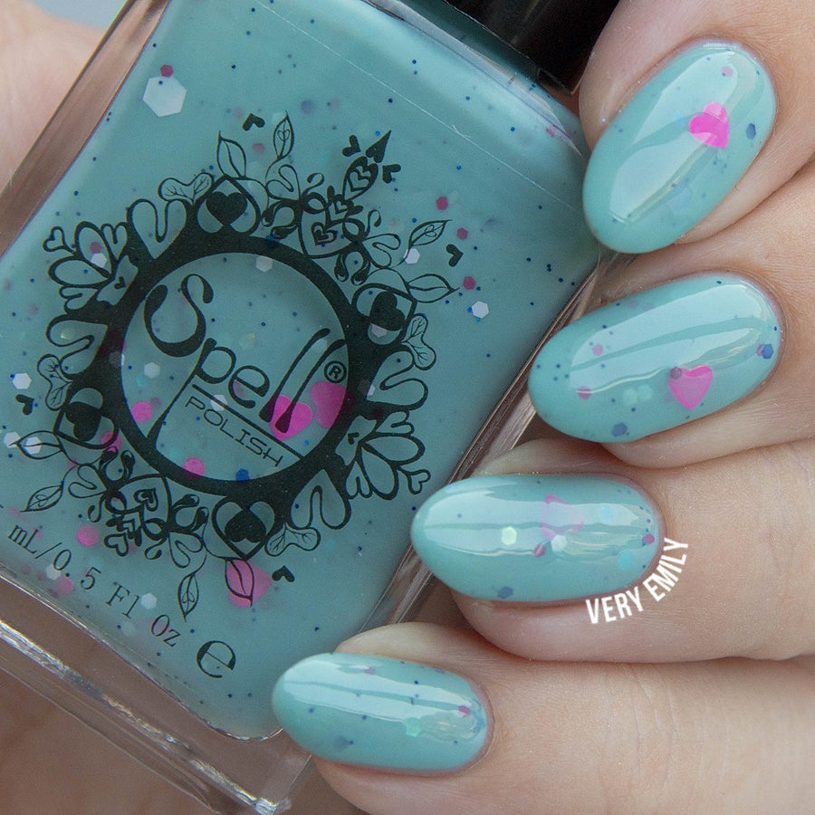 Clue in the Canopy~ milky blue jade crème glitter Spell nail polish ...