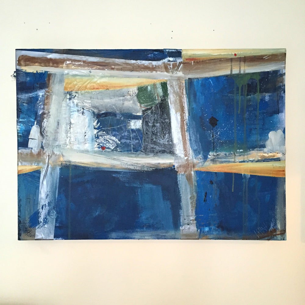 Image of SHELTER #2  - Acrylic on Canvas with tape, 60 x 40cms