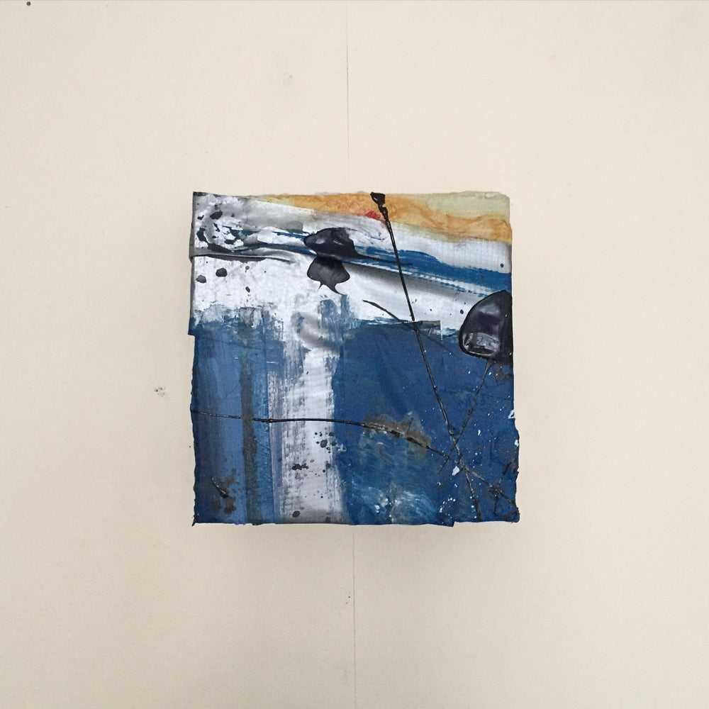 Image of SHELTER #7  - Acrylic on canvas with tape, 10 x 10cms