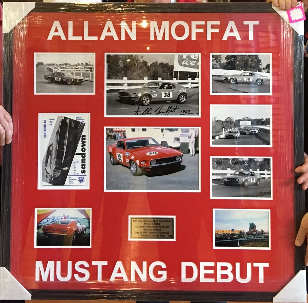 Image of Allan Moffat Trans Am Mustang debut photo frame. Autographed.