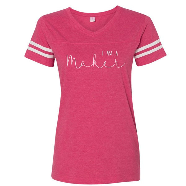 Image of Pink and White I Am A Maker Sport T-Shirt