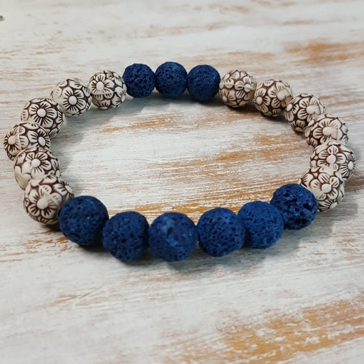 Image of BLUE LAVA AND WOOD ARM CANDY