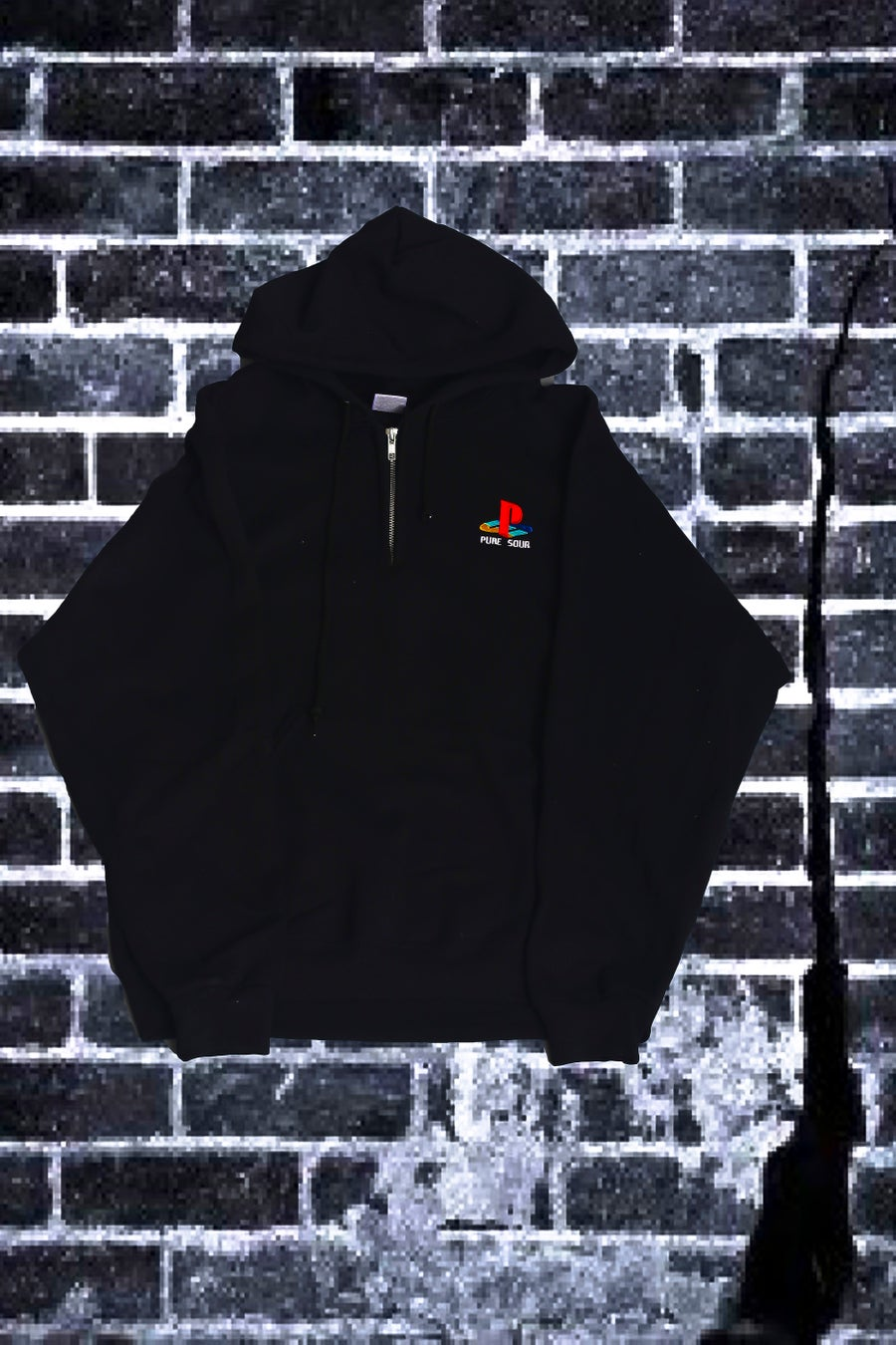 Image of PS HALF ZIP HOODIE BLACK