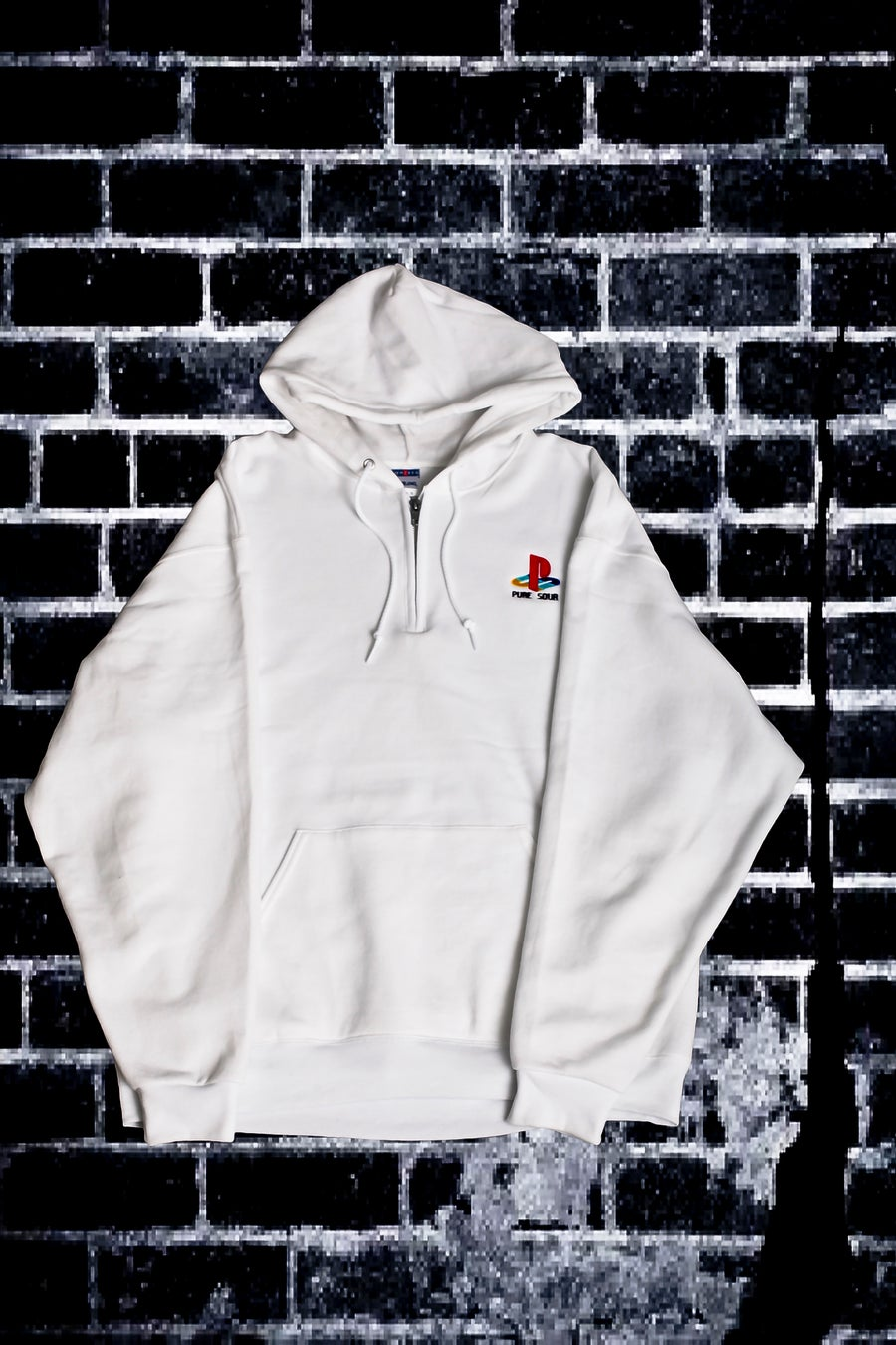 Image of PS HALF ZIP HOODIE WHITE