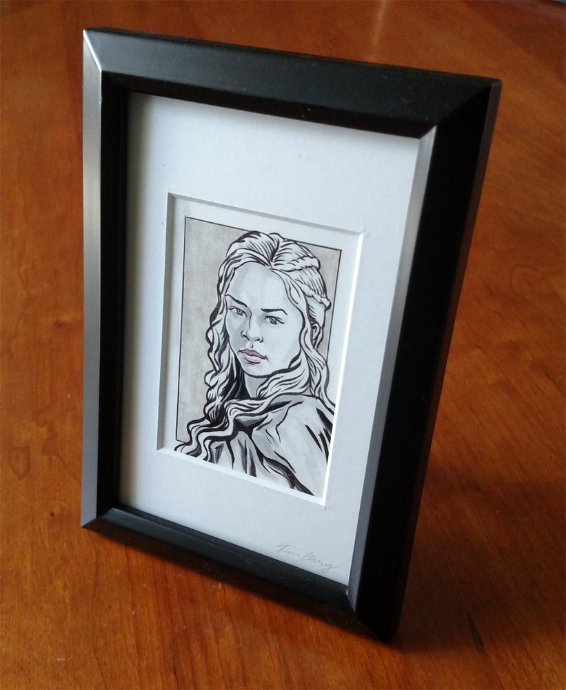 Image of Daenerys Targaryen Original Art Card (Framed)