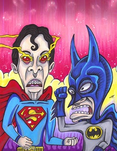 Image of Beavis and Butthead / Batman v Superman Mashup PRINT