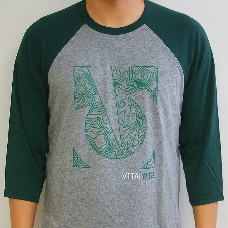 Image of Vital MTB Topo 3/4 Sleeve T-Shirt, Grey/Emerald