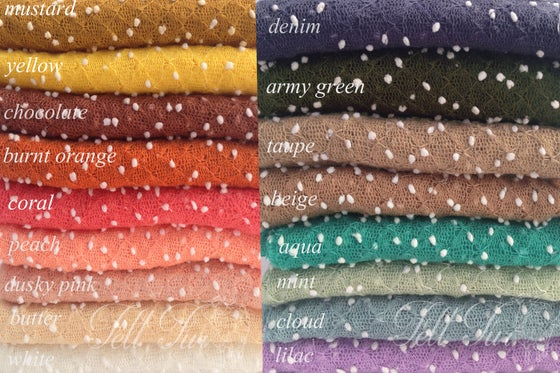 Image of Long Newborn stretch wrap photo prop, bubbles stretch wrap prop, dots knit baby layer