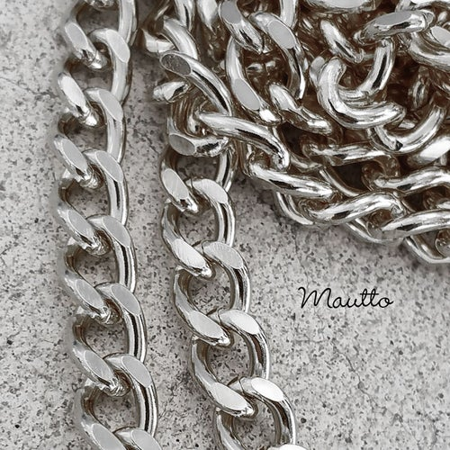 "Image of NICKEL Chain Purse Strap - Mini Classy Curb, Diamond Cut Accents - 1/4"" Wide - Choose Length & Clasp"