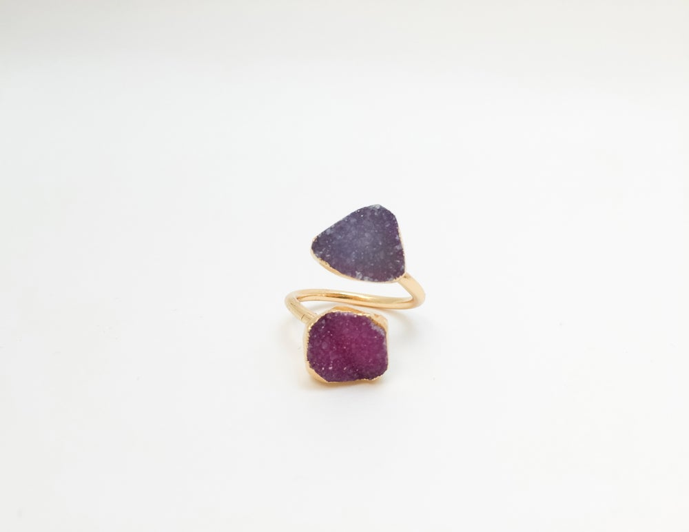 Image of 24k Gold Plated Druzy Midi Rings (Purple)