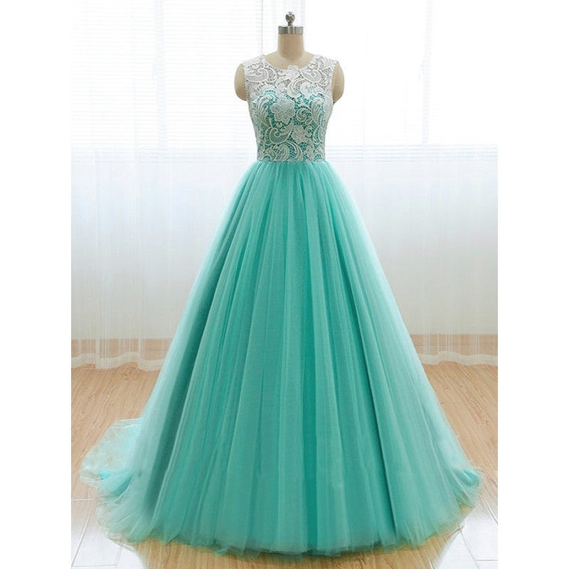 Beautiful Mint Green Tulle Ball Gown Prom Dress with Lace, Long Party Dresses, Prom Gowns