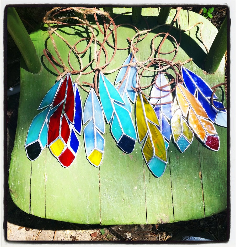 Image of Classic Feather Set-stained glass