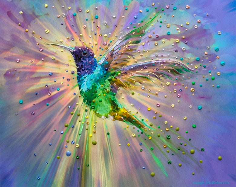 Image of Hummingbird Magic Energy Painting - Giclee Print