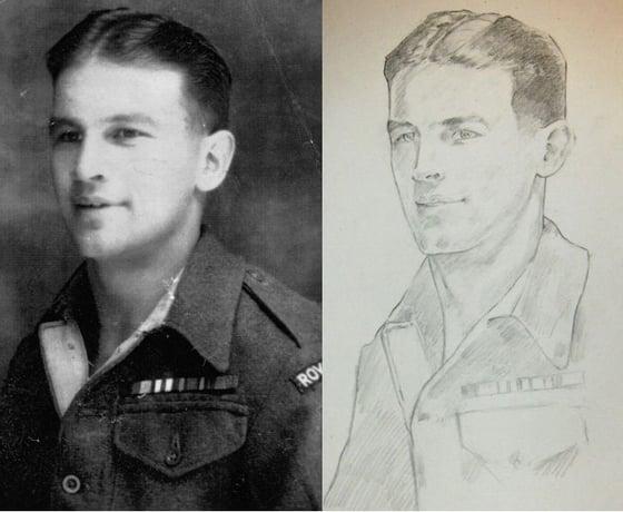 Image of Pencil Portraits of WW1 & WW2 ancestors A4/A3