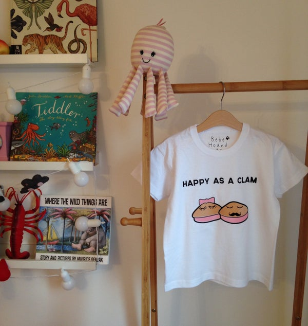 Image of happy as a clam tee