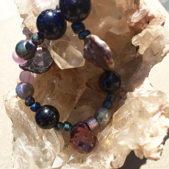 Image of Awaken and Trust <3 Goldstone, Periwinkle Pearl, Aurora Borealis Labradorite