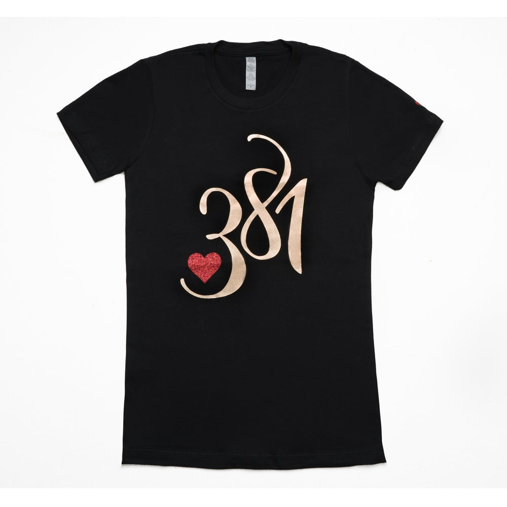 Image of 381 Logo Tee Black|Gold Foil