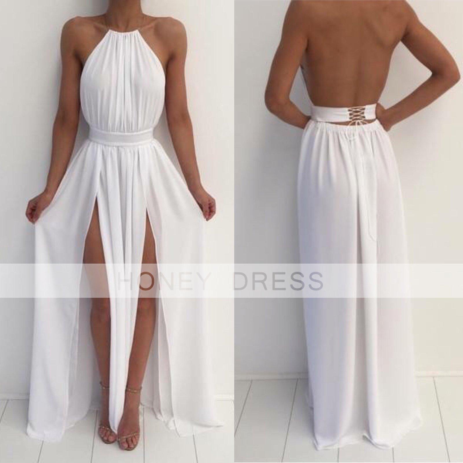 Honey Dress White Chiffon Nude Halter Slit Open Back Prom Dress