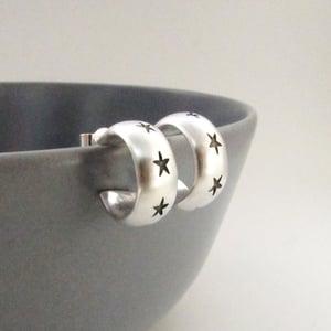 Image of Silver Star Hoop Earrings