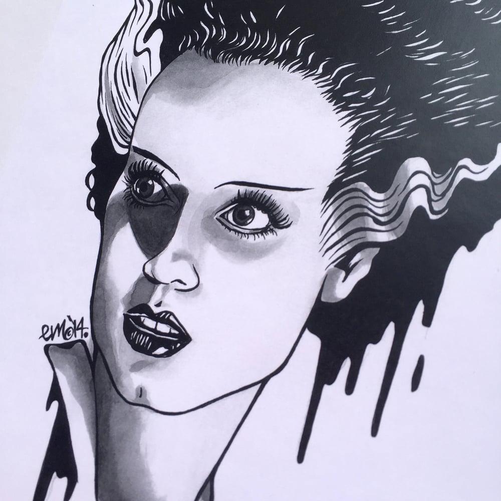 Image of Bride of Frankenstein A4 Print