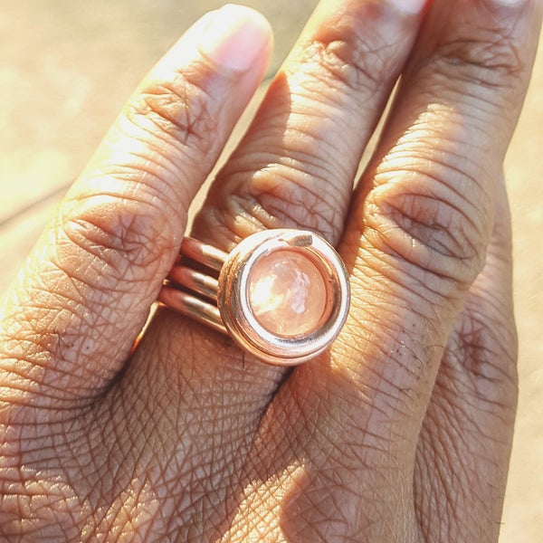 Image of Rose Quartz Crystal Luminary Ring