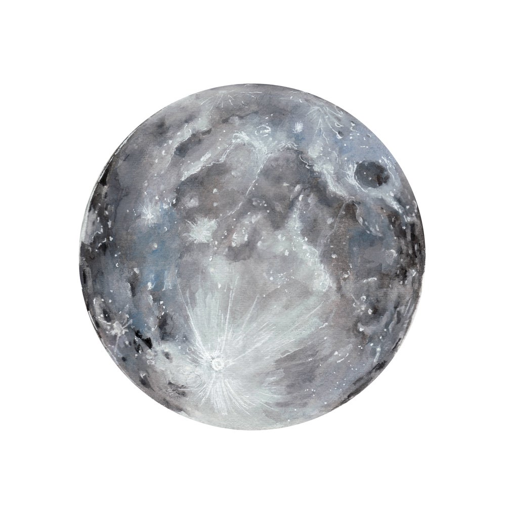 Image Of Watercolour Moon Print
