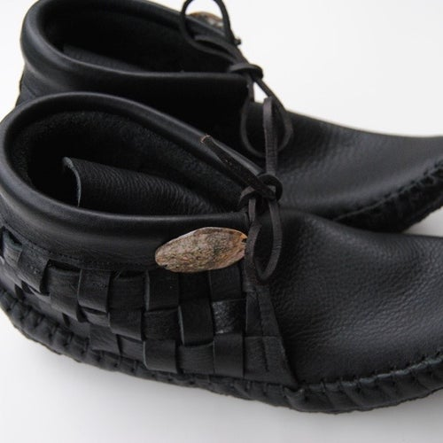 Image of Buffalo Hide Woven Moccasins (Black)