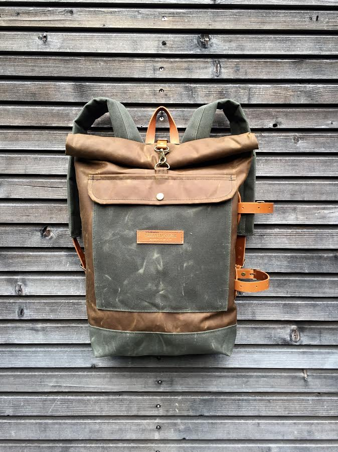 Waxed Canvas Backpack With Detachable Leather Side Straps
