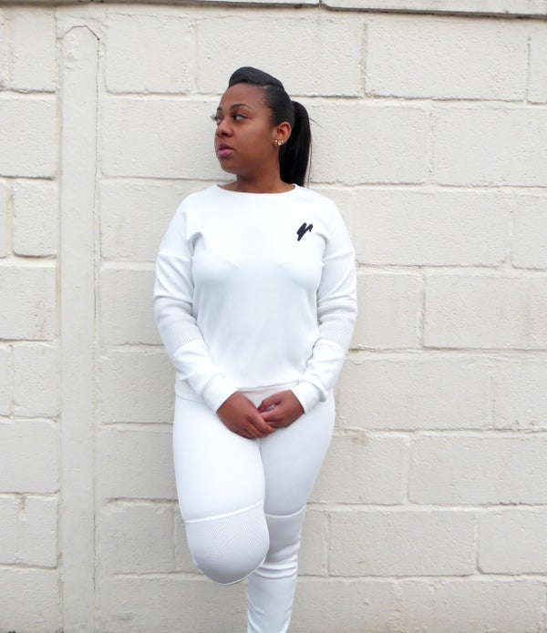 Womens Scuba Mesh Tracksuit Jumper (Off White) - Moore Vigilance
