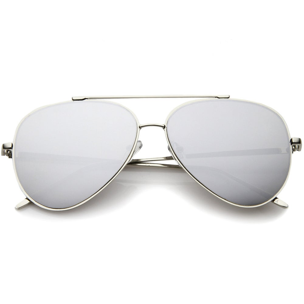 Image of Teardop Flat Lens Metal Aviator Sunglasses