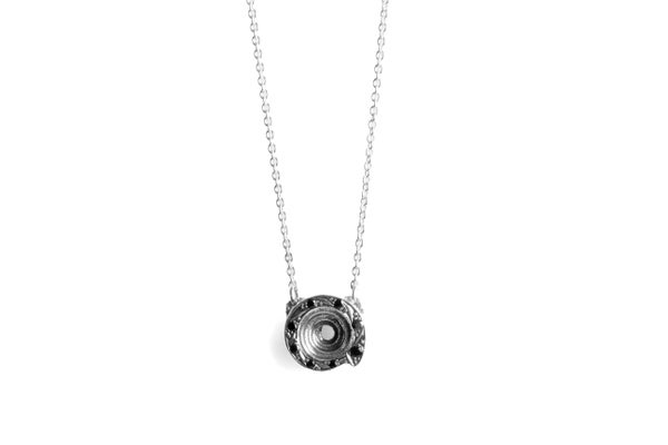 Image of Puka necklace with black spinels