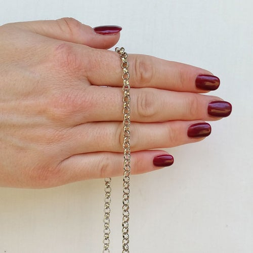 """Image of NICKEL Chain Luxury Strap - Classic Rolo Chain - Extra Petite - 3/16"""" Wide - Choose Length & Clasps"""