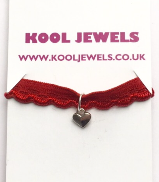 Image of Kool Jewels Red Mini Heart Charm Choker