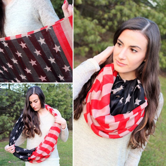 Image of Vintage American 4th of July Flag infinity Scarf