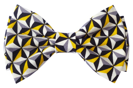 Image of Graphics tiles pattern print pre tied bow tie