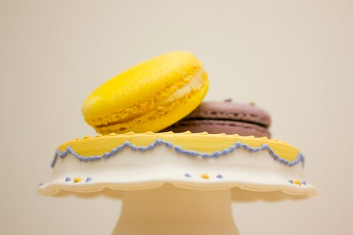 Image of French Country Porcelain Cupcake Stand / Yellow & Blue